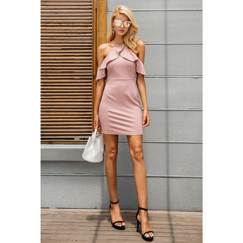 Pink Christmas Party Dress Mini With Cold Shoulder and ruffles