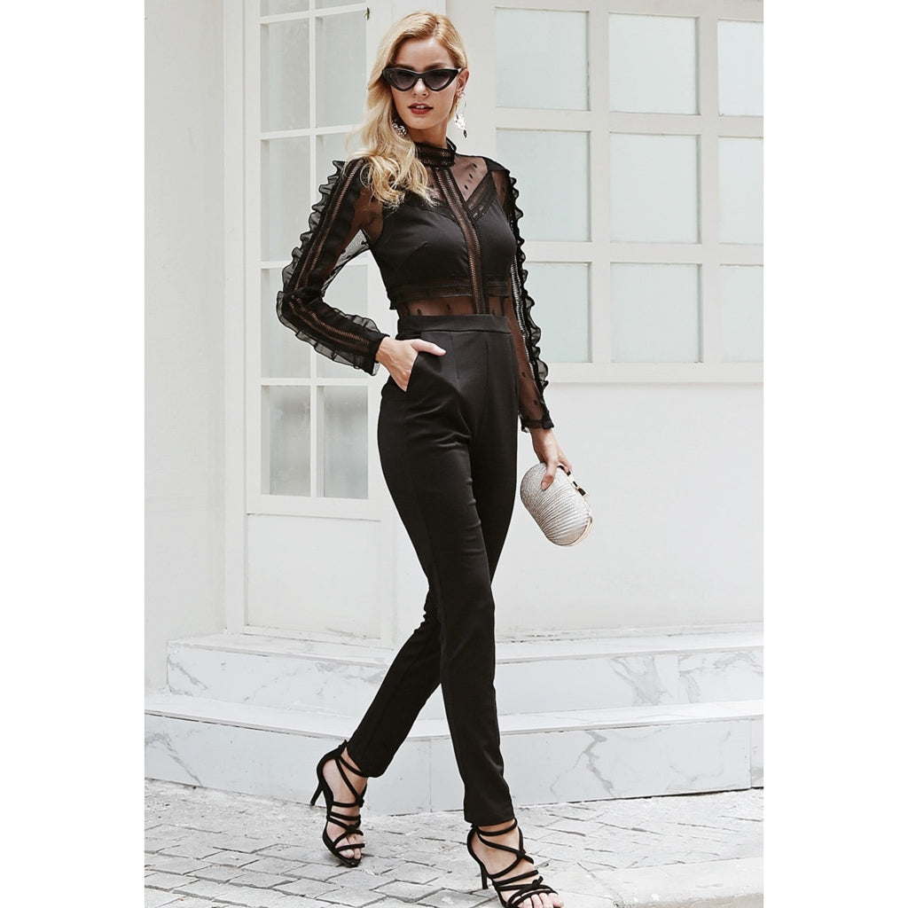 Black Jumpsuit Long Sleeve Mesh