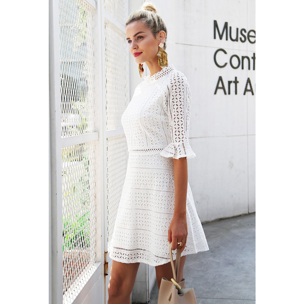 Classy Half Sleeve Dress White Hollow Out Mini Dress Bell Sleeve Elegant Street Style Outfit