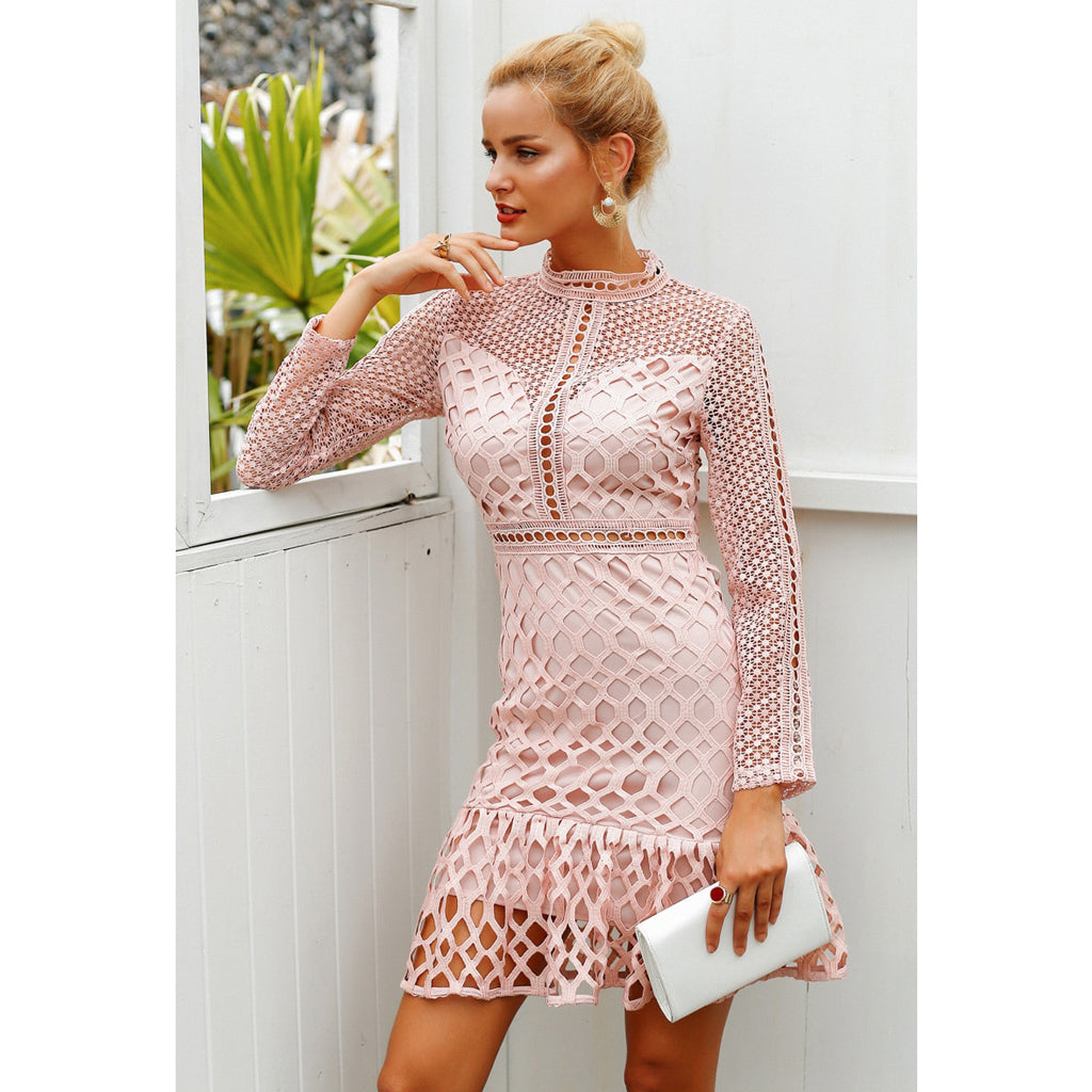 Pink Hollow Out Long Sleeve Mini Dress Classy