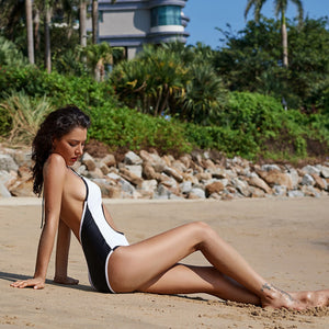 One-piece Black and White Swimsuit with Tummy Cutout Halter top Backless One-peice Swimsuit