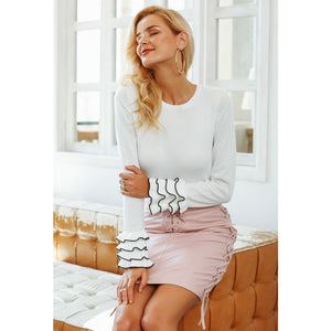 Leather Mini Skirt Pink Lace Up Skirt