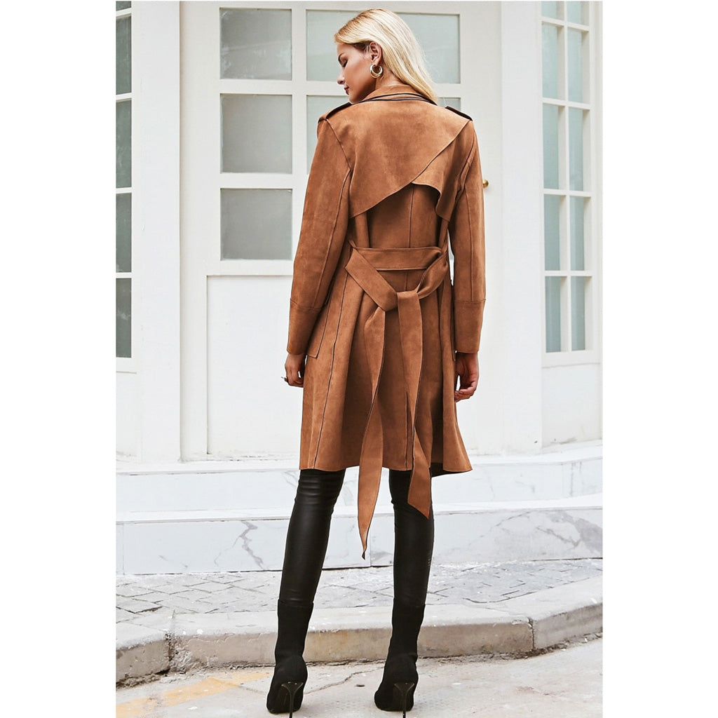 Suede Trench Coat Brown Street Style Jacket