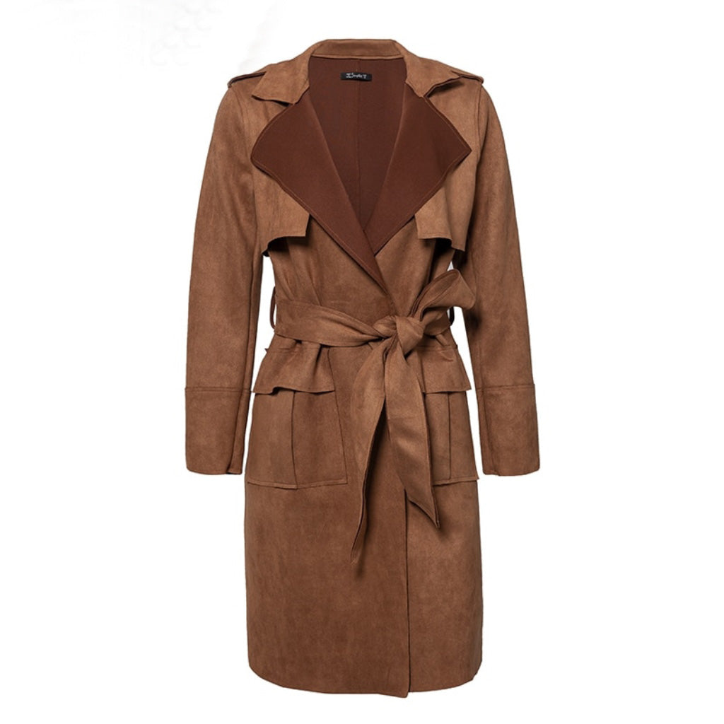 Turn down Collar Trench Coat Brown