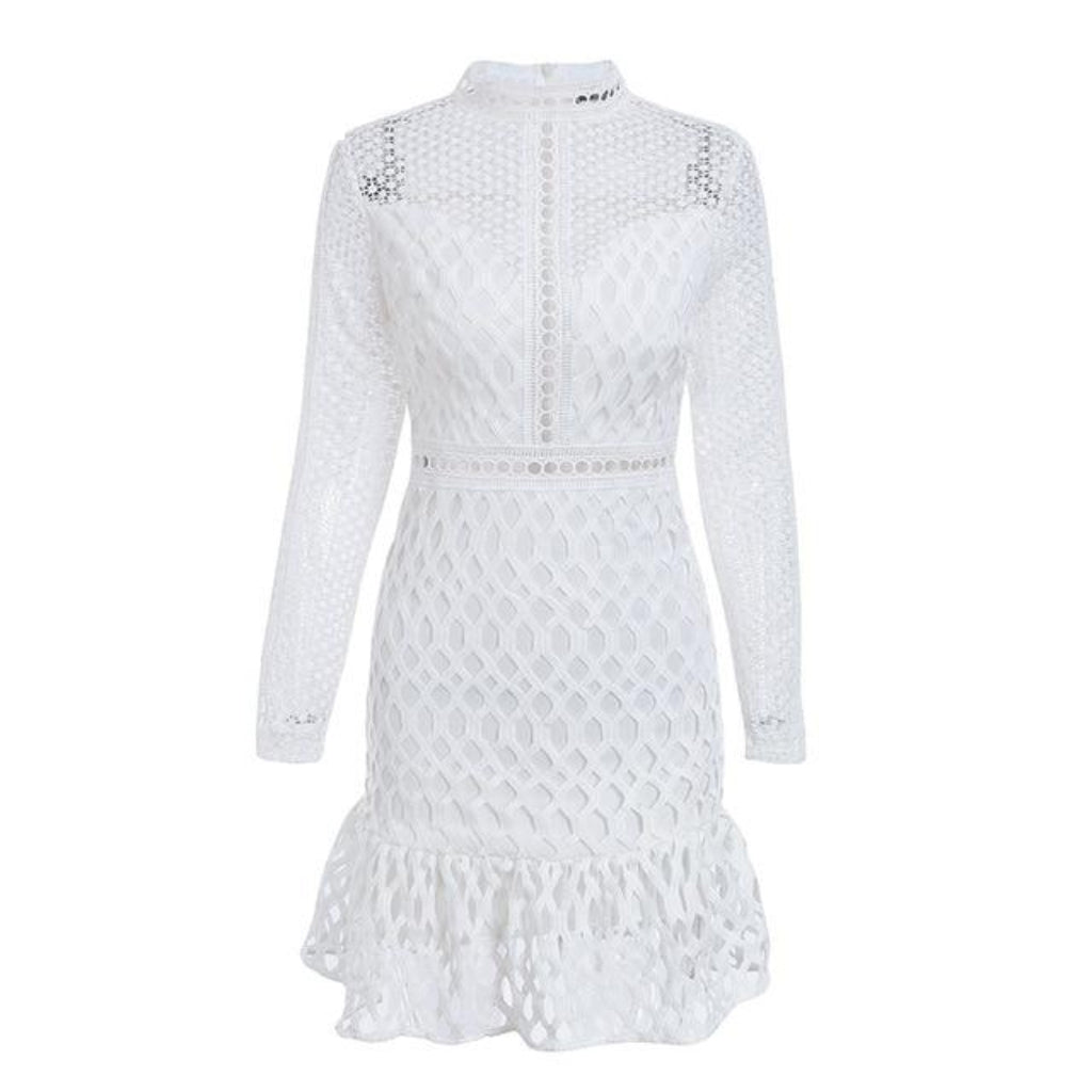 White Hollow Out Mini Dress