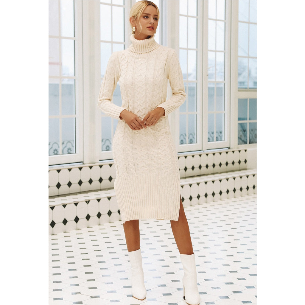White Turtleneck Dress for Winter Warm Long Sleeve