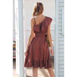 Red Cocktail Party Midi Dress One Shoulder with Ruffles