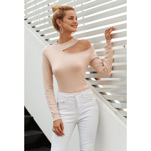4c2c600a35c2a Pink Cold Shoulder Choker Sweater Pullover with Long Sleeves Women s  Sweatshirt ...