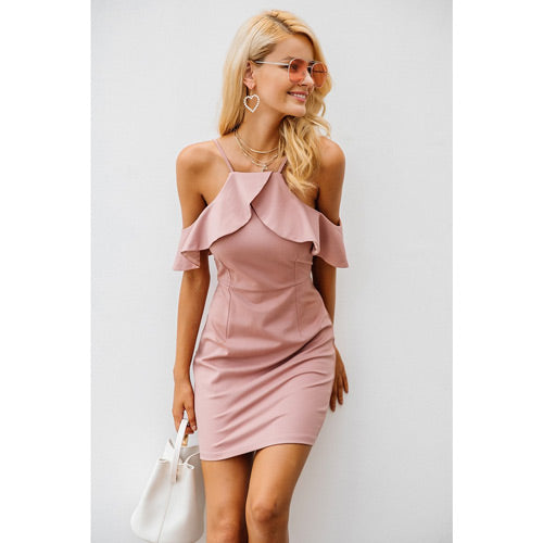 Cold Shoulder Dress With Ruffles Pink Tight Club Dress
