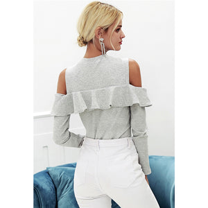Gray Street Style Sweater Women Cold Shoulder Long Sleeve