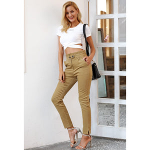 High Waist Khaki Corduroy Pants for Women Ankle Length with Button Strap
