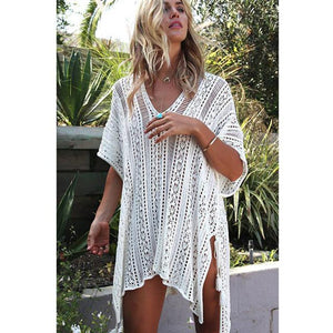 98b8886f49 Crochet Beach Cover Up White Cardigan Tunic