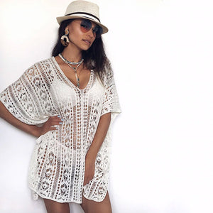 Crochet Swimsuit Cover Up White Cardigan Tunic