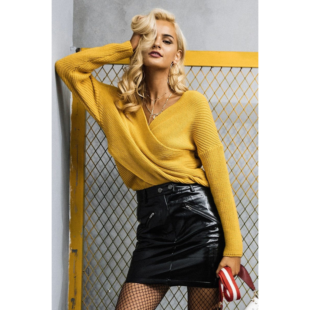 Yellow Cross V-neck Sweater for Women with Long Sleeves