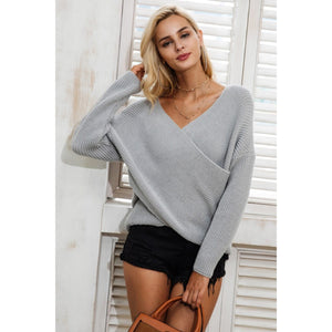 Gray Cross V-neck Sweaters with Overlap and long Sleeves