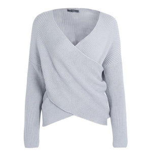Gray Knitted Cross V-neck Sweatshirt with Long sleeves Fall Outfit for Women