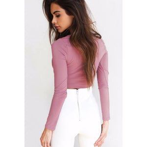 Purple Long Sleeve Cross V-neck Crop Top for Women Soft and Sexy