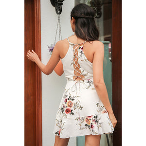 Cocktail Party Dress with Pretty back design Sleeveless with floral pattern Cute Back Dress Style White Floral Dress Ruffle