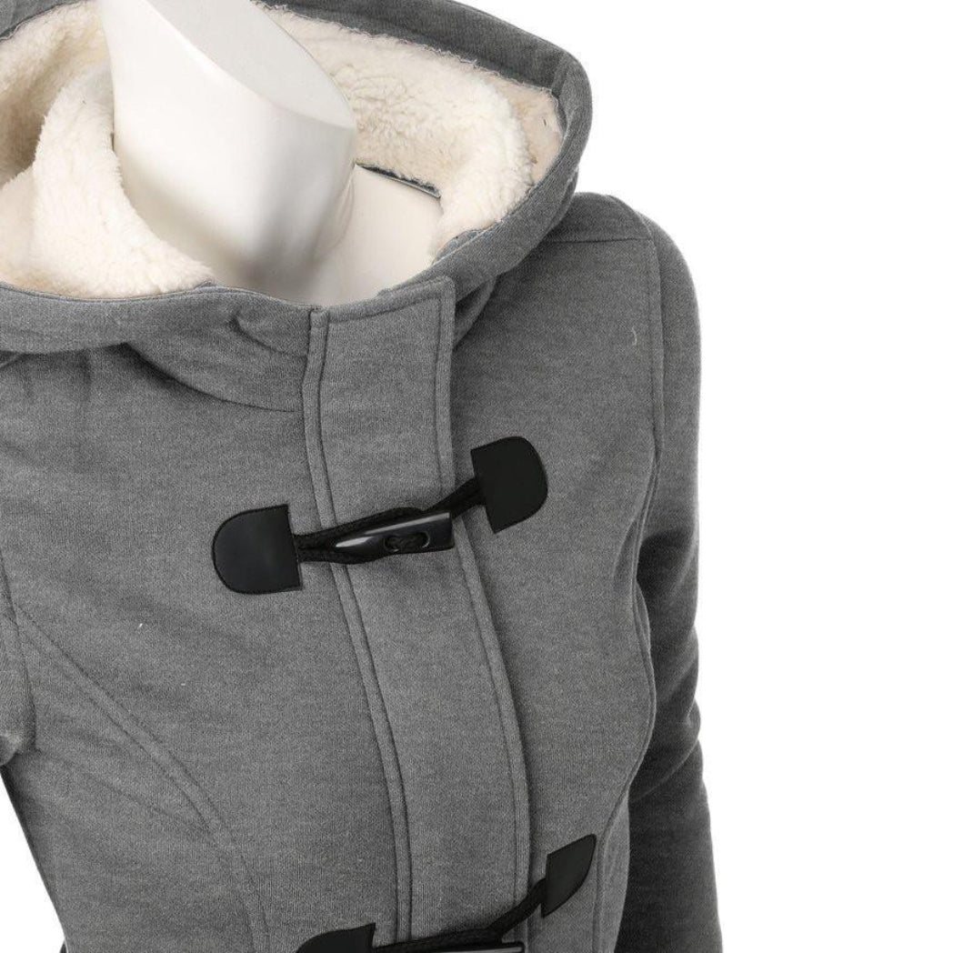 Cute Fall Jacket with Hood and Cute Closures Gray Women's Coat