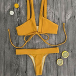 Cute Yellow Thong Bikini Set