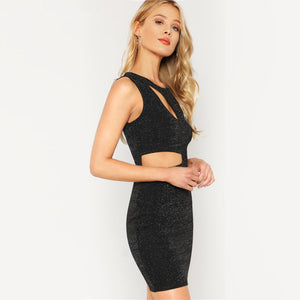 Cutout Black Mini Dress Glitter Bodycon Dress Sleeveless