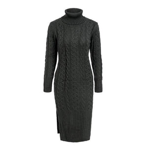 Dark Gray Turtleneck Dress Long Sleeve