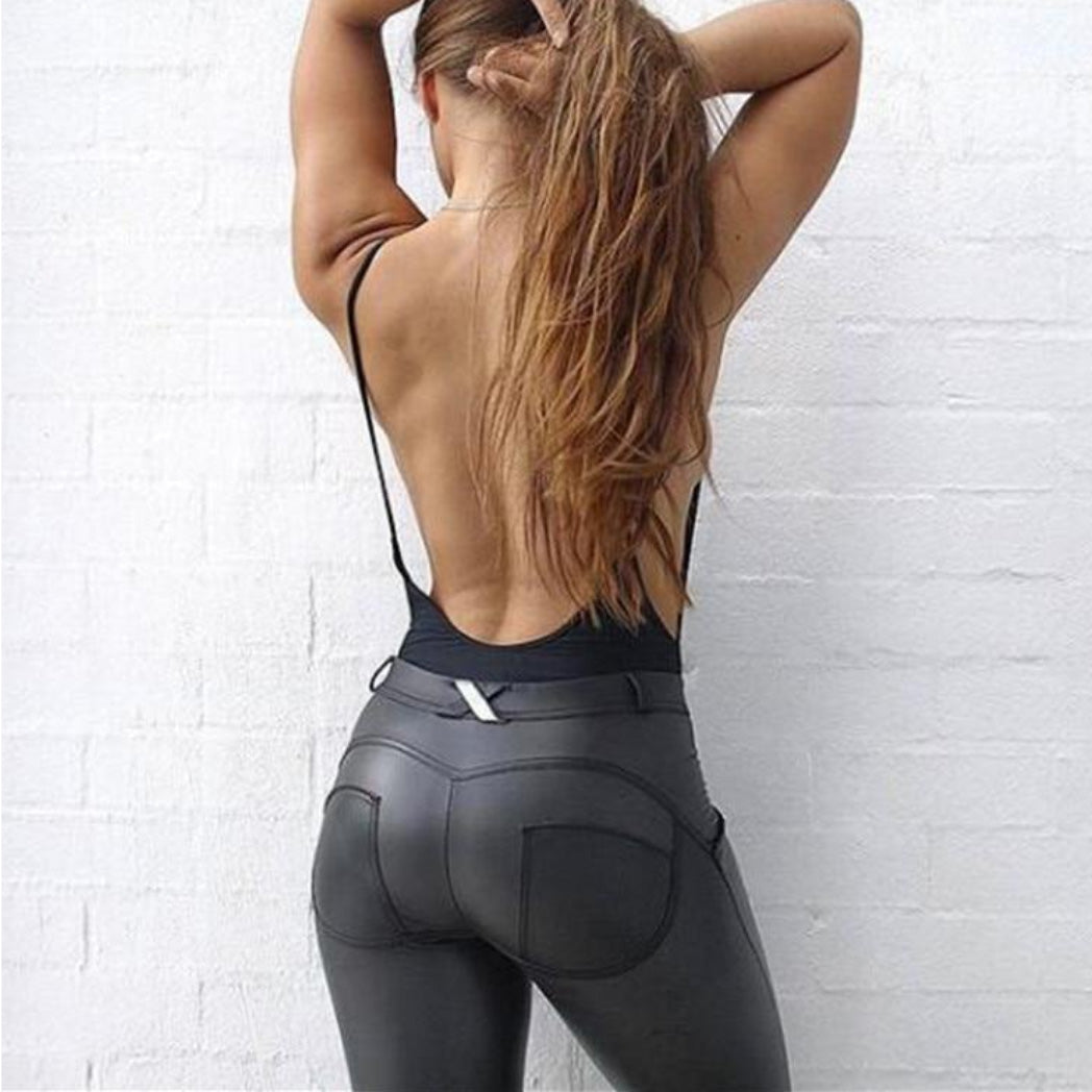 Eco Leather Leggings Bum Lifting Leggings Booty Shaping Pants