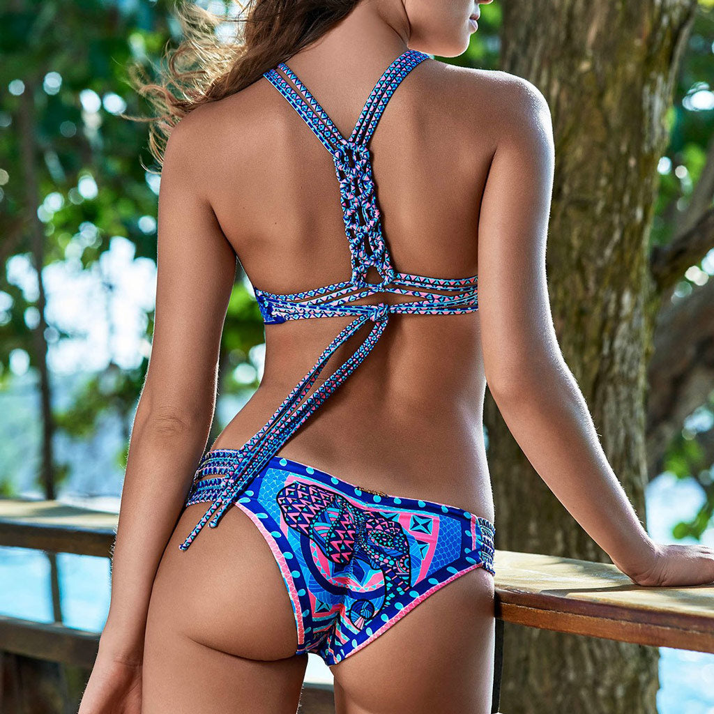 Elephant Bikini Set Vibrant High Neck Bikini Strappy Back Cheeky Bottoms