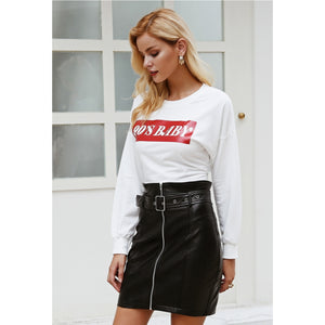 Faux Fashion Skirt High Waist Belt and Zipper Detailing