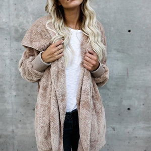 Faux Fur Hooded Coat for Women with Pockets