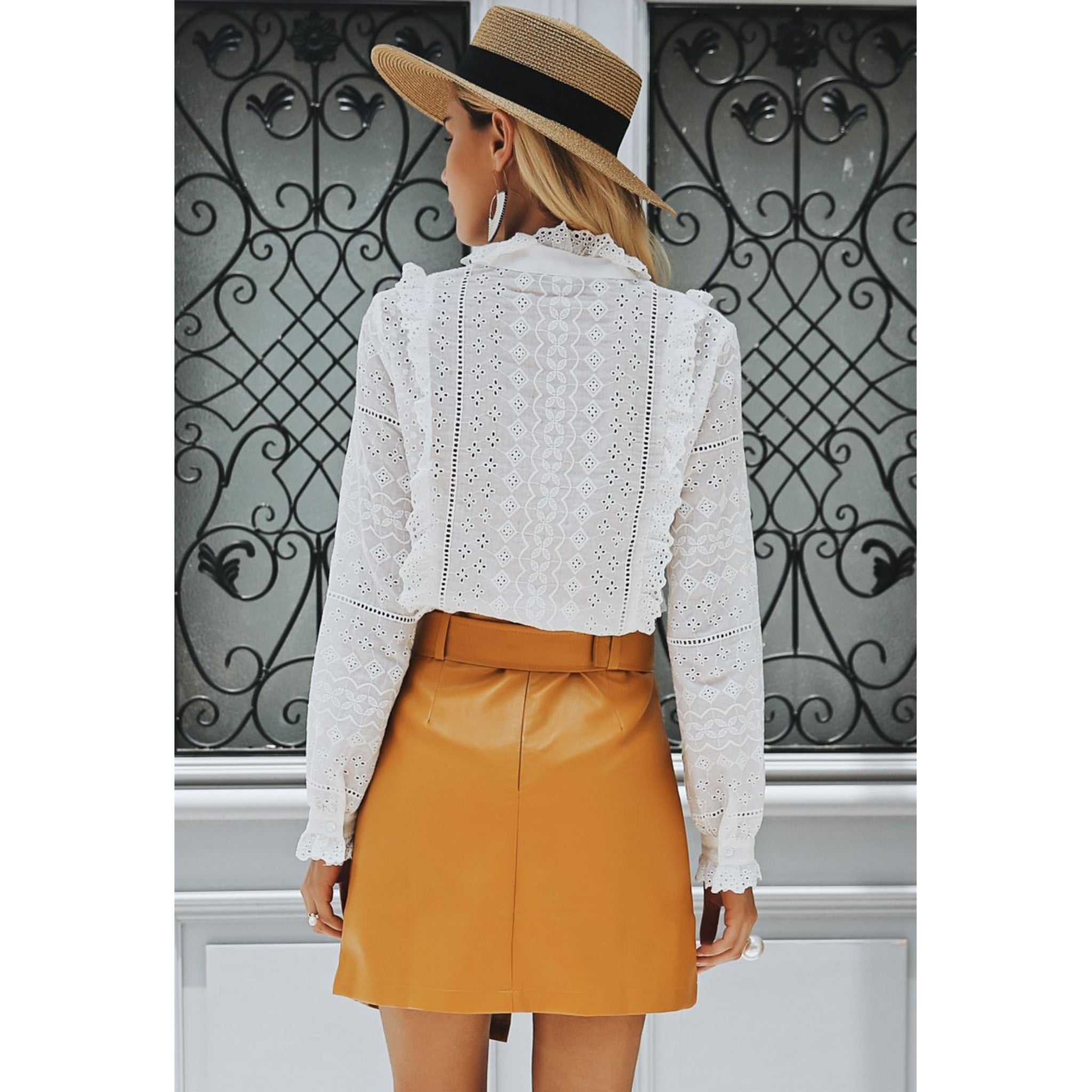 Yellow Faux Leather mini skirt with belt and high waist. White Blouse and hat