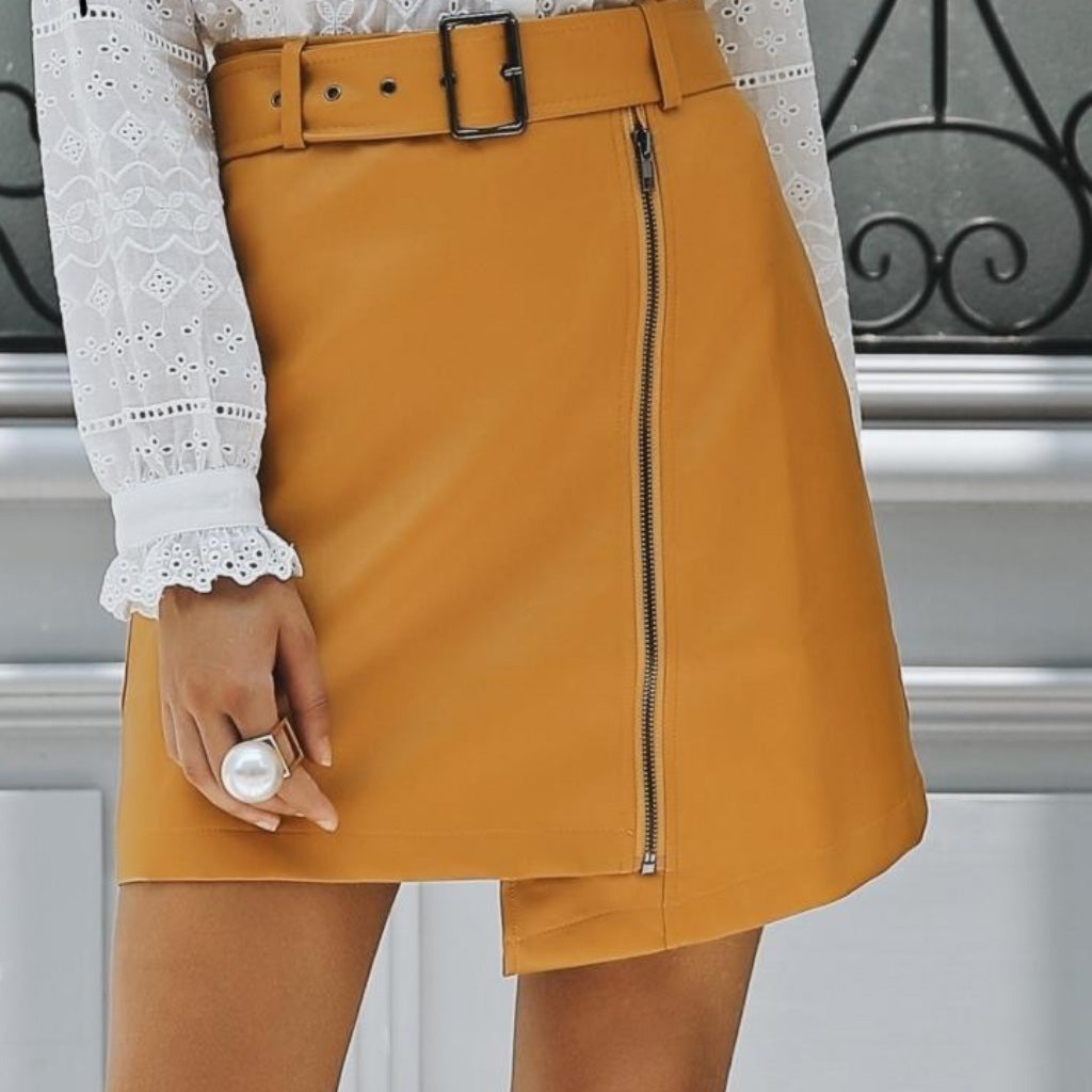 Yellow Faux Leather Mini Skirt with Belt and Zipper detailing