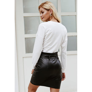 Faux Skirt Belted High Waist Zipper Mini Skirt