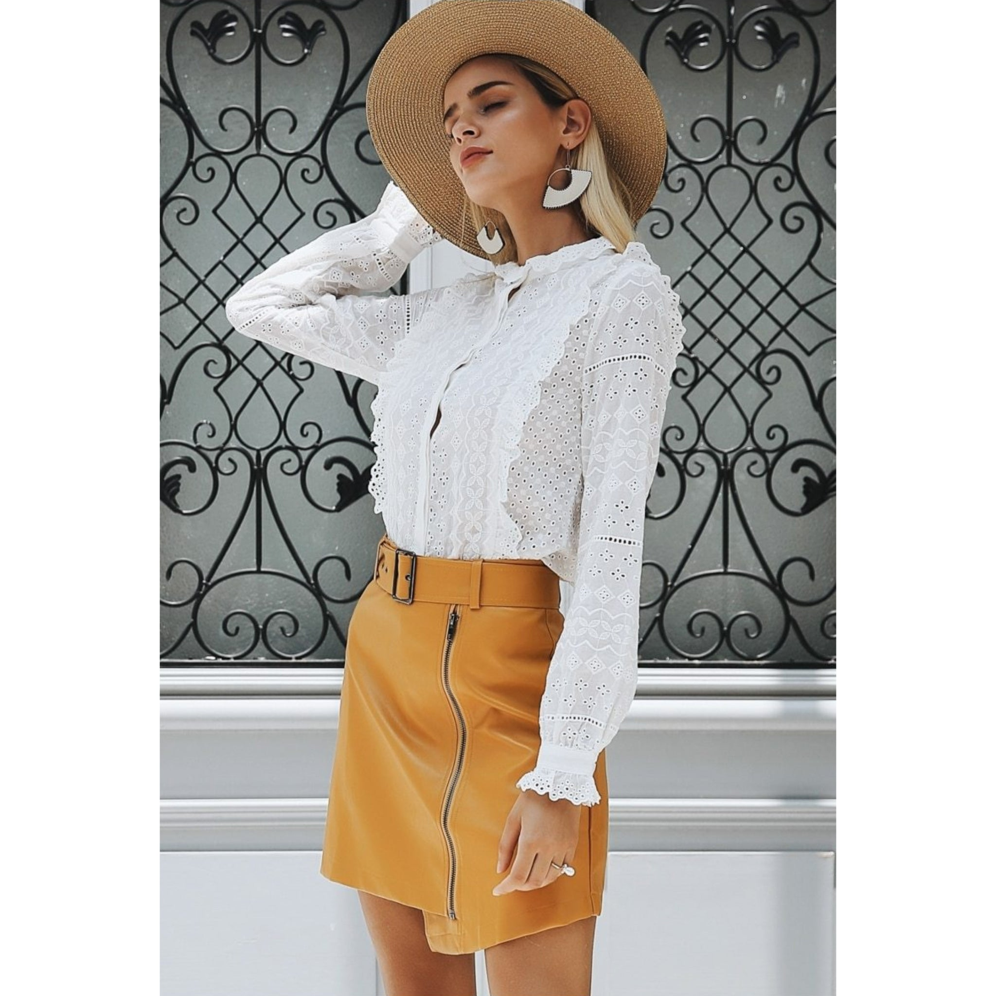 Yellow Faux Leather Mini Skirt with Belt and Zipper Details