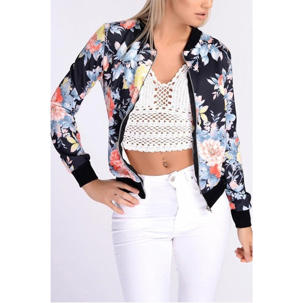 Floral Bomber Jacket Women stylish and lightweight bomber jacket