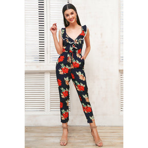 Floral Sleeveless Jumpsuit with V-neck and Cross back