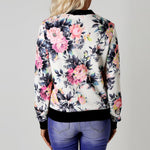 Women's Bomber Jacket with Floral pattern soft lightweight on sale women's jackets