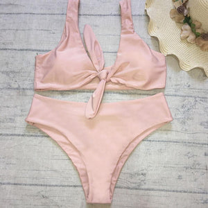 Front Knot Bikini Swimsuit Nude Color High Waist