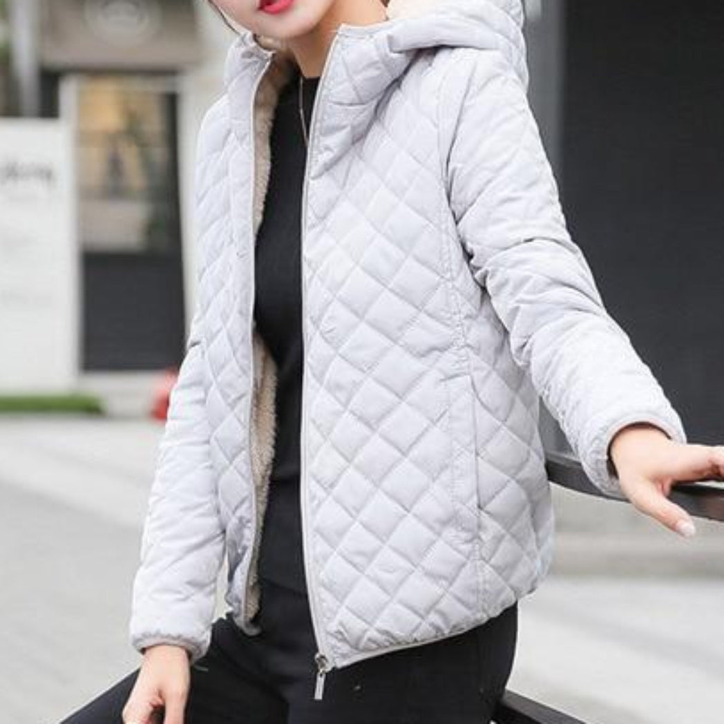 Gray Bomber Jacket Coat for Women with Hood and Soft Lining