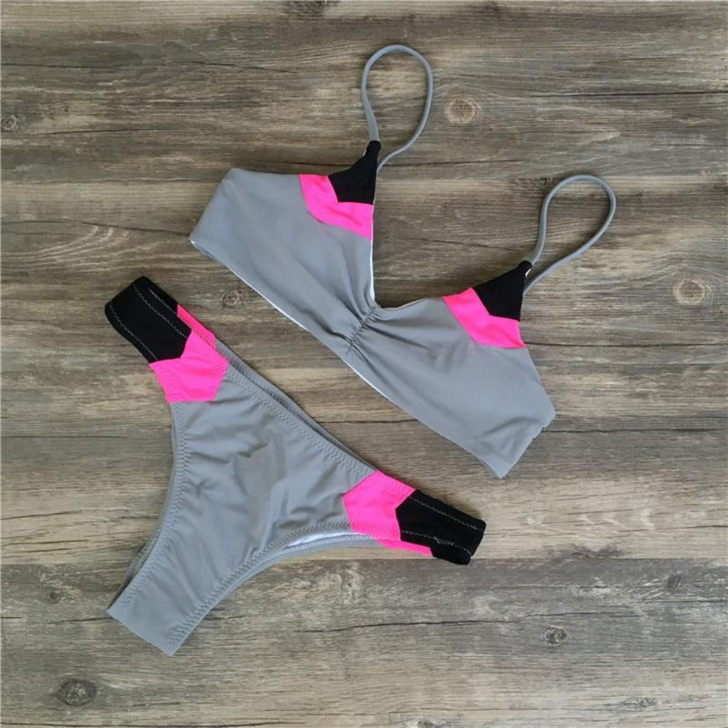 Gray Bralette Bikini Swimsuit with Pink