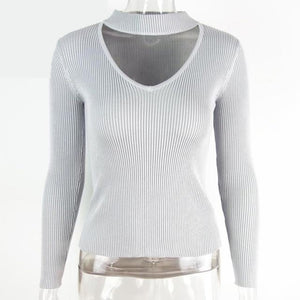 Gray Choker Sweater Long Sleeve Knit Pullover V-neck