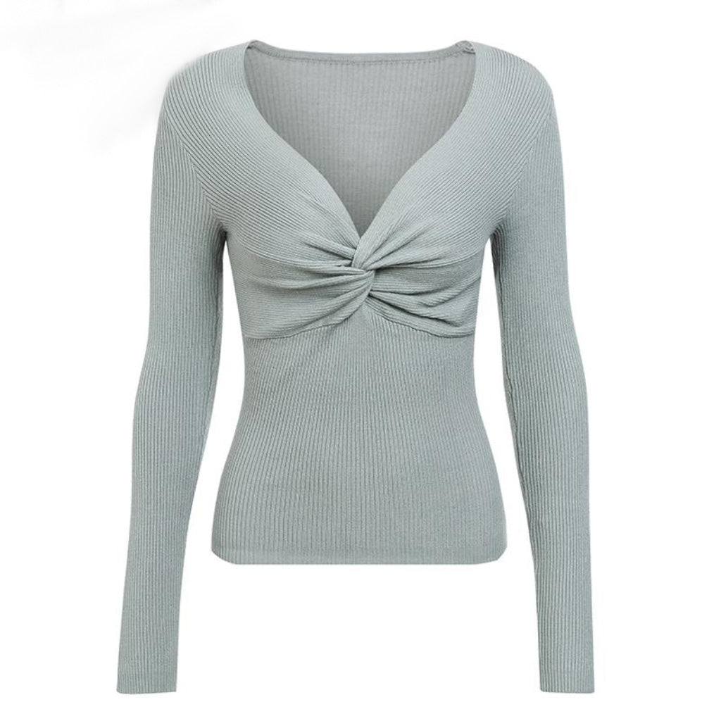 Gray Cross V-neck Sweater