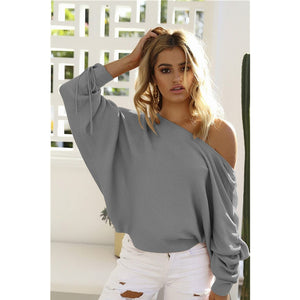 Gray Lace Up Sleeve Off the Shoulder Pullover Sweater Women Shopping Online