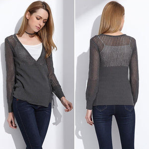 Gray Lace Up Cardigan with Overlap Lace Up Front and Hollow Out Knitting