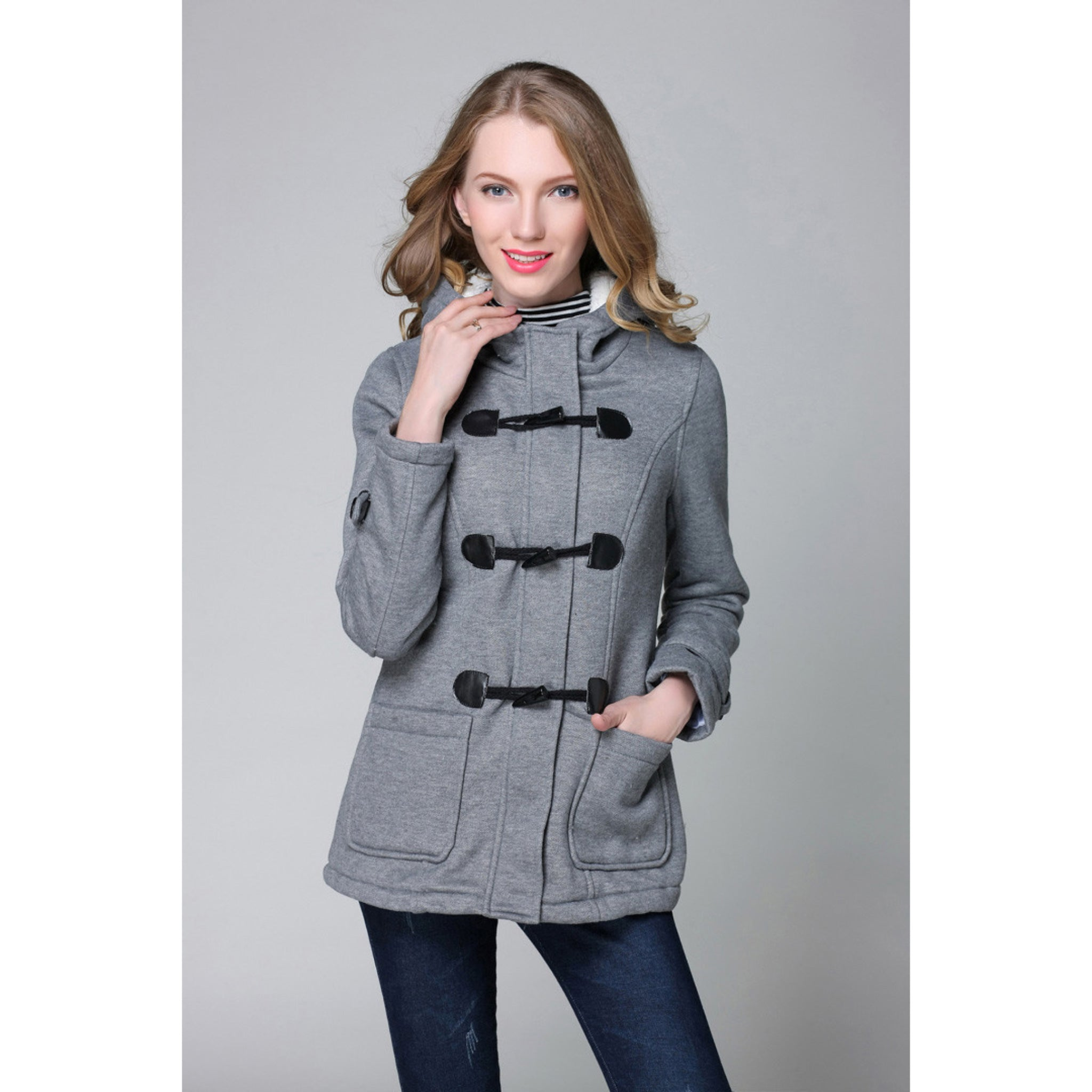 Women's Gray Long Trench Coat with Soft Hood