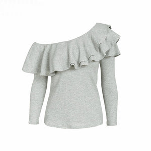 Gray One Shoulder Blouse Ruffle Long Sleeve Top Women