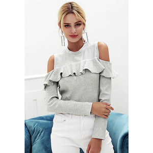 Cold Shoulder Long Sleeve Ruffle Sweater Street Style Sweater Gray