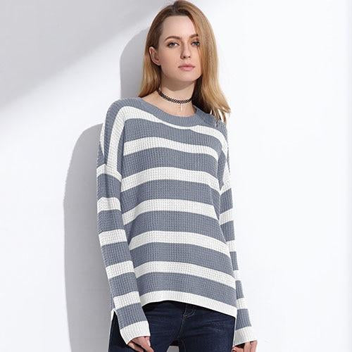 Gray Striped Pullover Sweater with long sleeves and soft knit