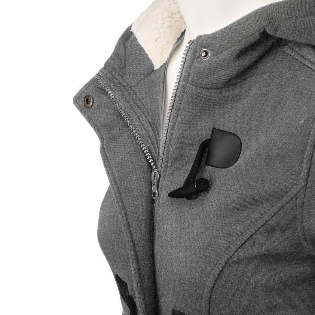 Gray Trench Coat Female Jacket with hood