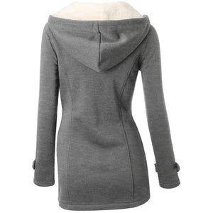 Gray Trench Coat with Hood and closure Female jacket